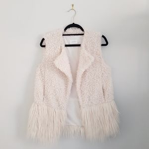 Jackets & Blazers - Off white shearling and fur gilet